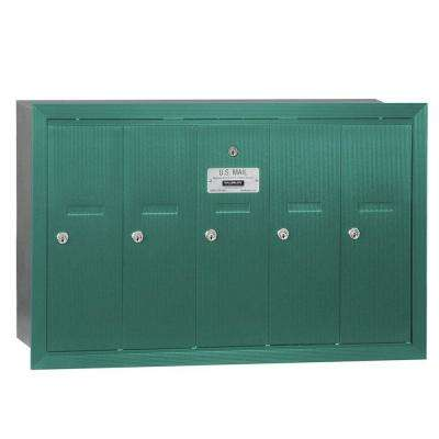 Green Recessed-Mounted USPS Access Vertical Mailbox with 5 Doors