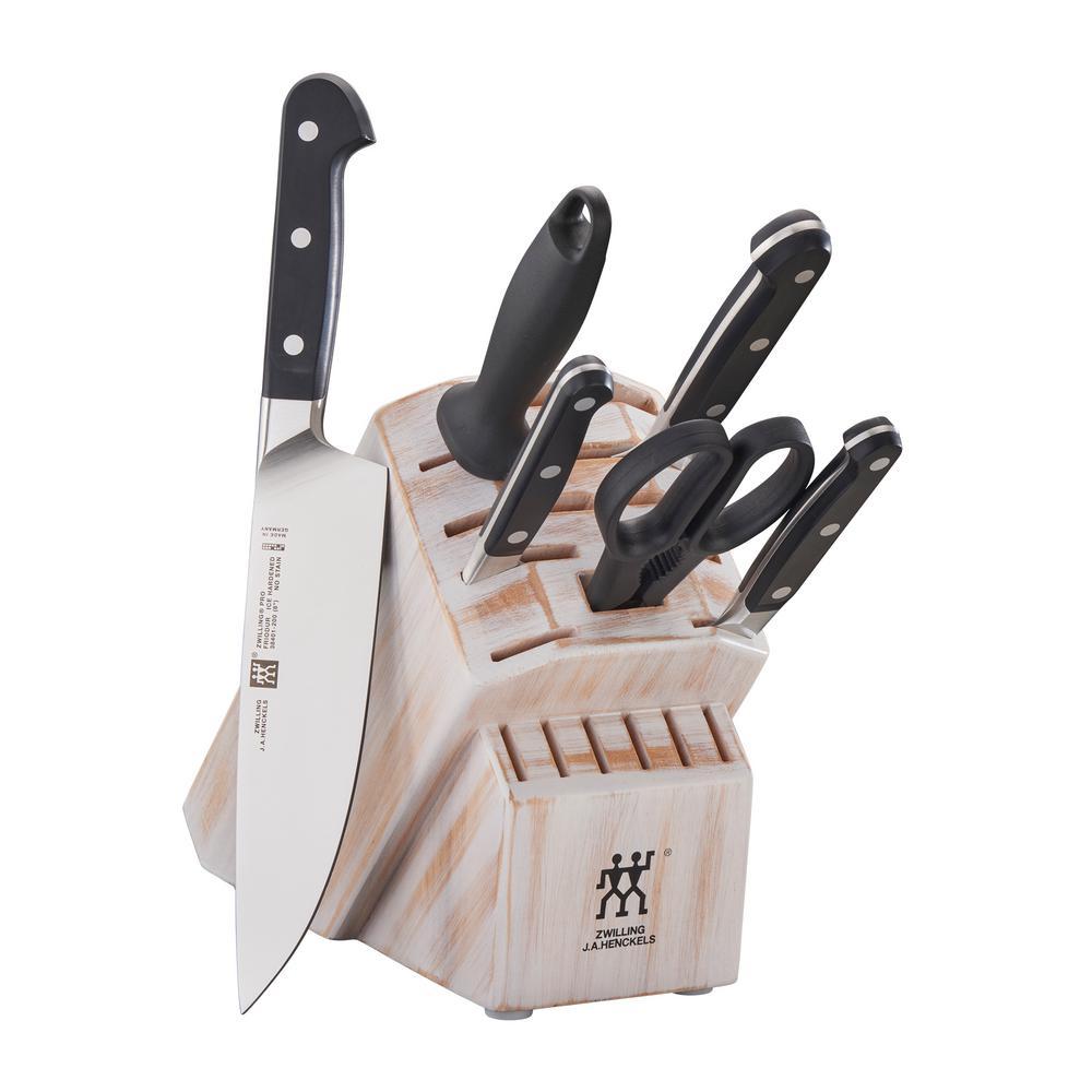Pro 7-Piece Rustic White Knife Block Set