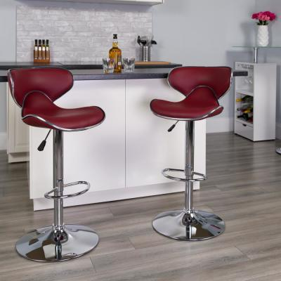 32.50 in. Adjustable Height Burgundy Cushioned Bar Stool