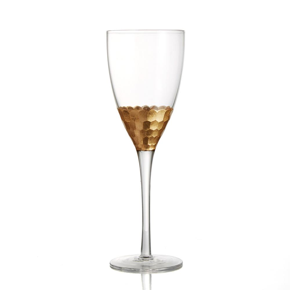 FITZ&FLOYD Daphne 11.8 oz./350 ml; 3.14 in. D x 9.25 in. Gold Red Wine Glasses (Set of 4)