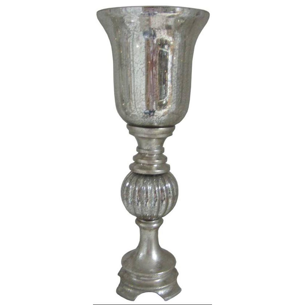 Fangio Lighting 18.5 in. Silver Leaf Resin and Mercury Glass Up-Light-DISCONTINUED