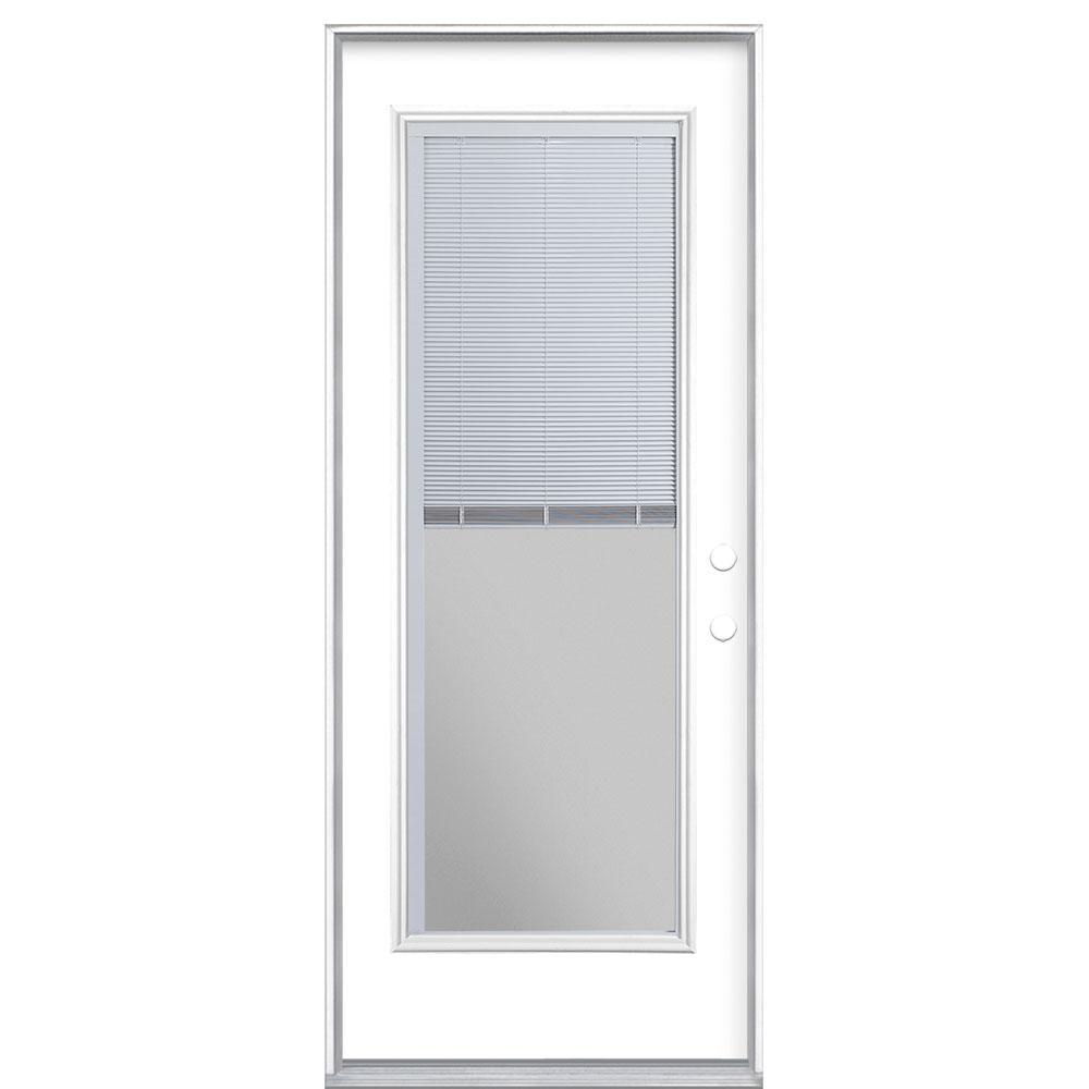 Masonite 32 in. x 80 in. Full Lite Mini Blind Left Hand Inswing Painted Steel Prehung Front Exterior Door No Brickmold