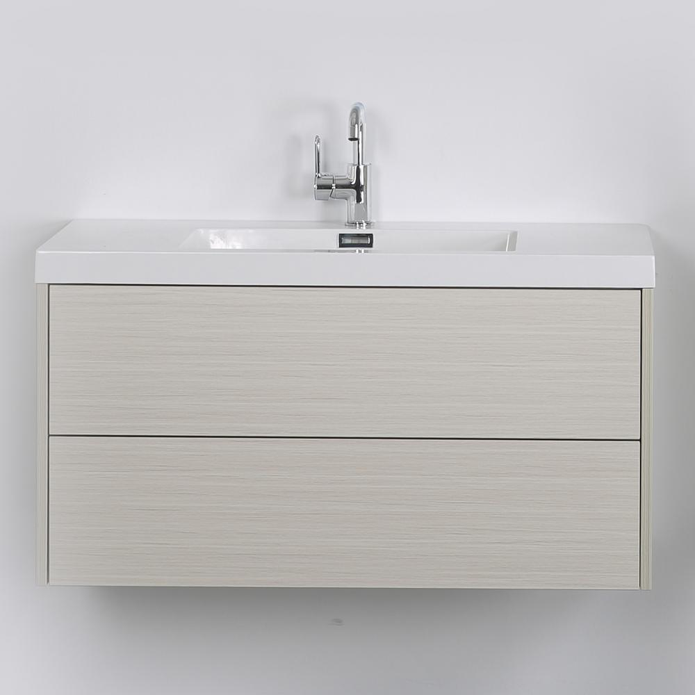 Streamline 39.4 in. W x 19.5 in. H Bath Vanity in Gray with Resin Vanity Top in White with White Basin