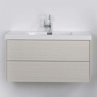 39.4 in. W x 19.5 in. H Bath Vanity in Gray with Resin Vanity Top in White with White Basin