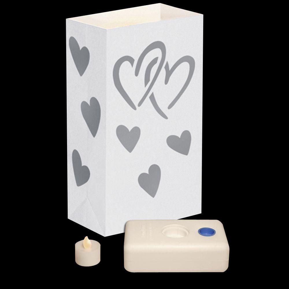 Lumabase Hearts LED Luminaria Kit (Set of 12)