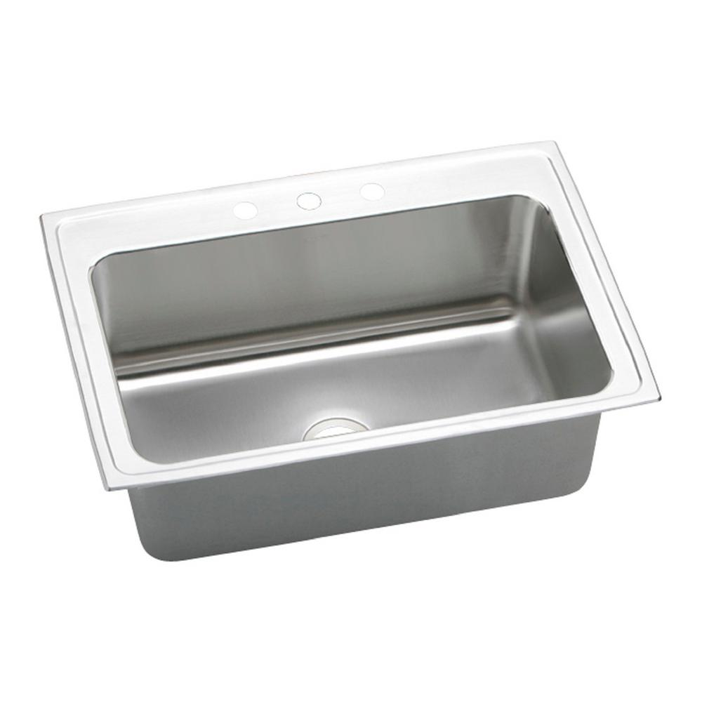single stainless steel kitchen sink elkay lustertone drop in stainless steel 33 in 3 7965