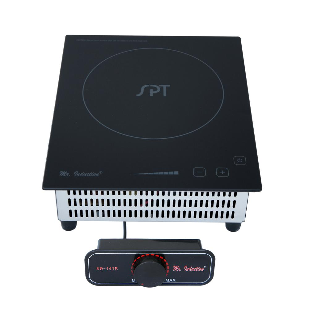 8.86 in. Mini Tempered Glass Induction Cooktop in Black with 1