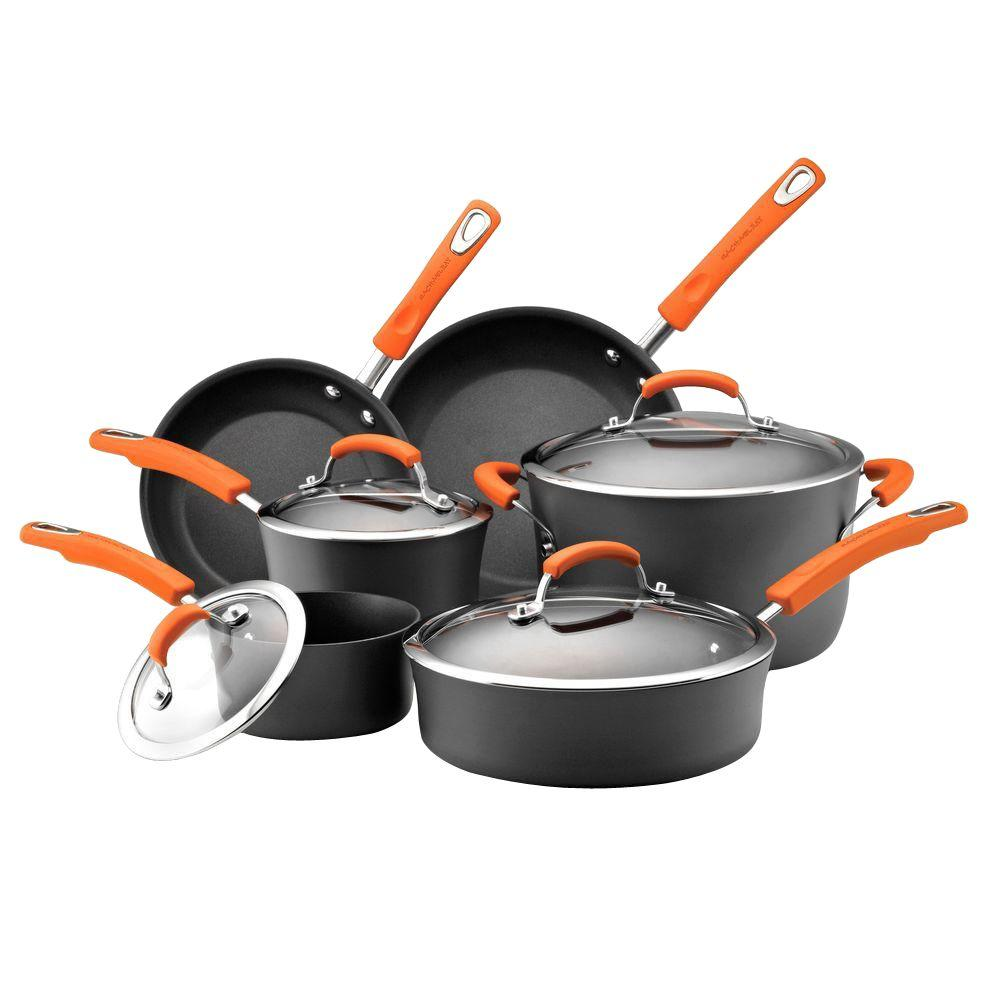 Rachael Ray 10-Piece Gray/Orange Cookware Set With Lids
