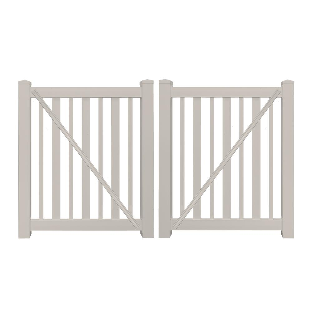 Atlantis 9 ft. W x 4 ft. H Tan Vinyl Pool Double Fence Gate