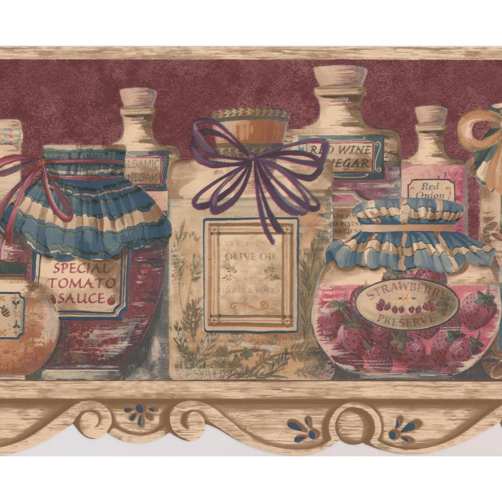 Retro Art Food Jars On Kitchen Shelf Dark Red Wide Prepasted