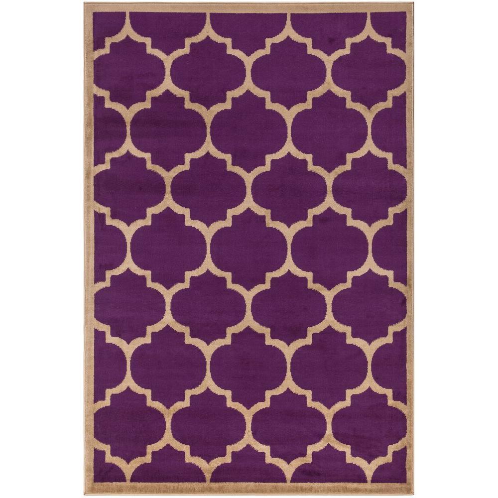 Ottomanson Contemporary Moroccan Trellis Purple 5 Ft. X 7