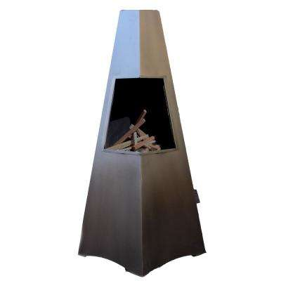 46 in. Bronze Wood Outside Chimney Pyramid Chiminea