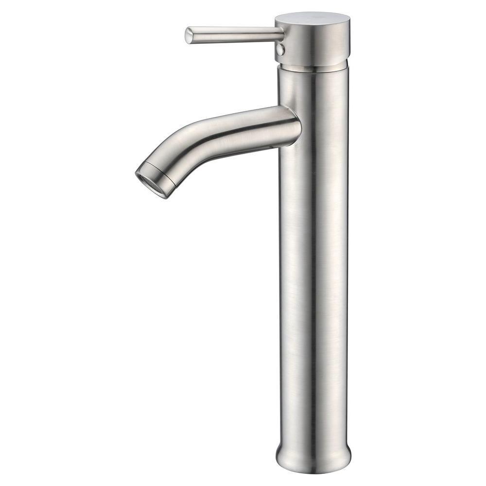 Fann Single Hole Single-Handle Vessel Bathroom Faucet in Brushed Nickel