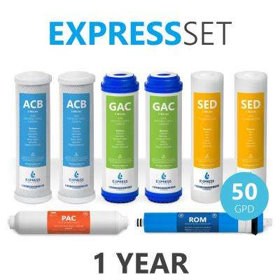 1 Year Reverse Osmosis System Replacement Filter Set - 8 Filters with 50 GPD RO Membrane - 10 in. Size Water Filters