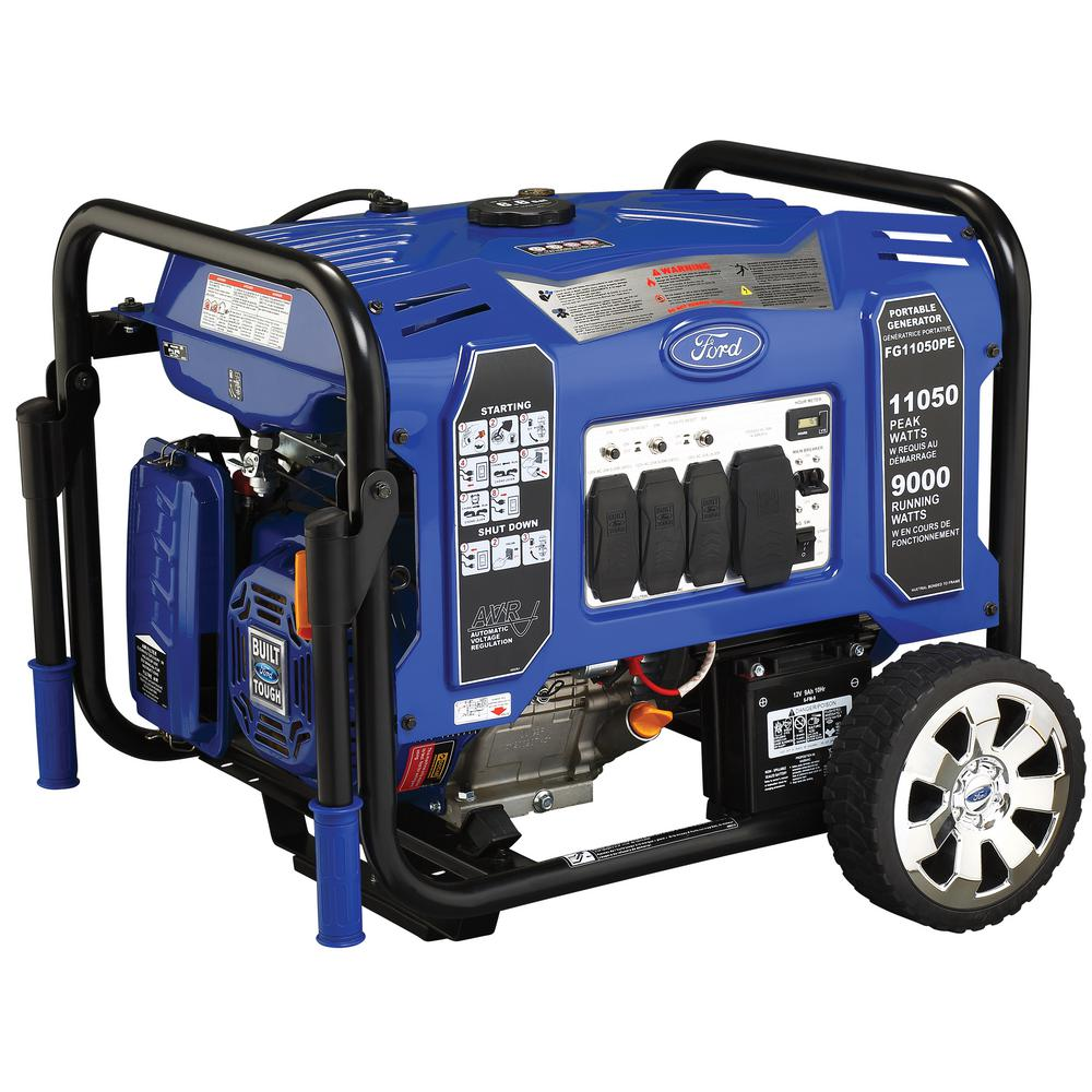 Ford Ford 11,050/9,000-Watt Gasoline Powered Electric/Recoil Start Portable Generator with 457 cc Ducar Engine