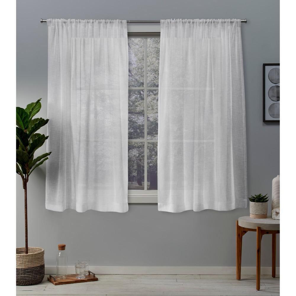 Exclusive Home Curtains Belgian 50 in. W x 63 in. L Sheer Rod Pocket Top Curtain Panel in Winter White (2 Panels)
