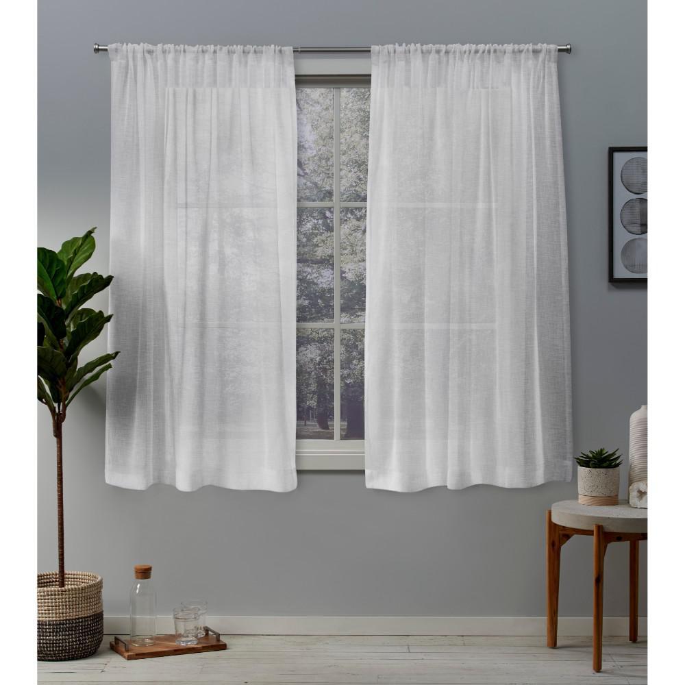 Belgian 50 in. W x 63 in. L Sheer Rod Pocket Top Curtain Panel in Winter White (2 Panels)