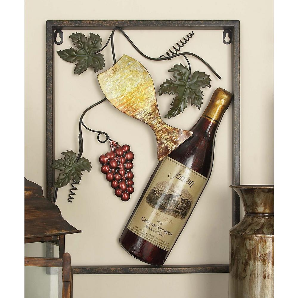 Litton Lane Wine Series Metal Wall Art Set Of 4 13996 The Home Depot