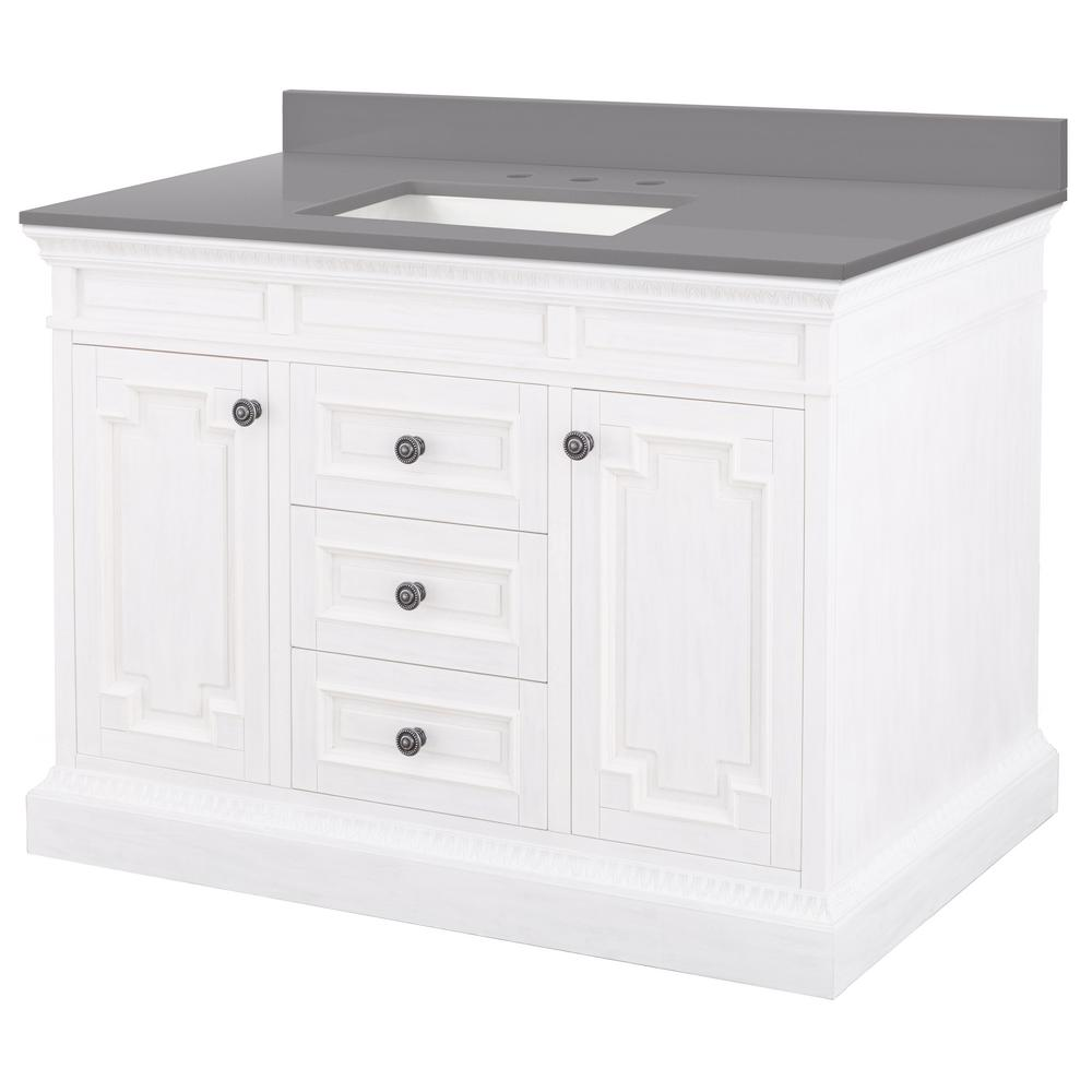 Home Decorators Collection Cailla 49 in. W x 22 in. D Bath Vanity in White Wash with Engineered Marble Vanity Top in Slate Grey with White Sink was $1299.0 now $909.3 (30.0% off)