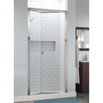 Infinity 31 in. x 72 in. Semi-Frameless Bi-Fold Shower Door in Chrome with Handle