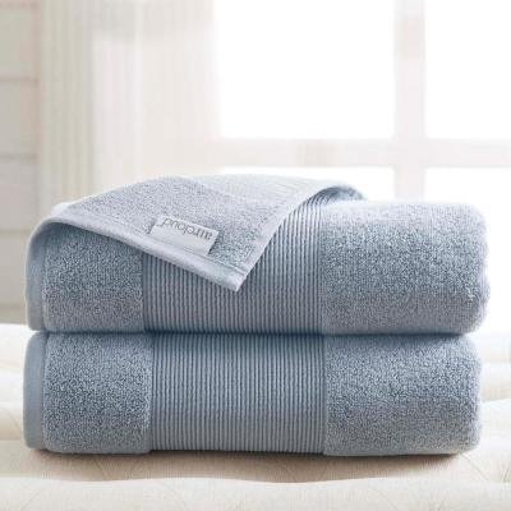 Air Cloud 2-Piece Wedgewood Blue Oversized Bath Sheet