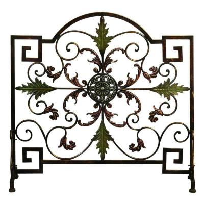 Domed Top Leaf Patterned Green Bronze Metal 1-Panel Fireplace Screen