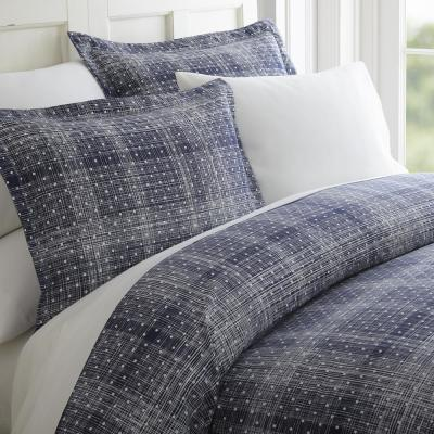 Polka Dot Patterned Performance Navy Twin 3-Piece Duvet Cover Set