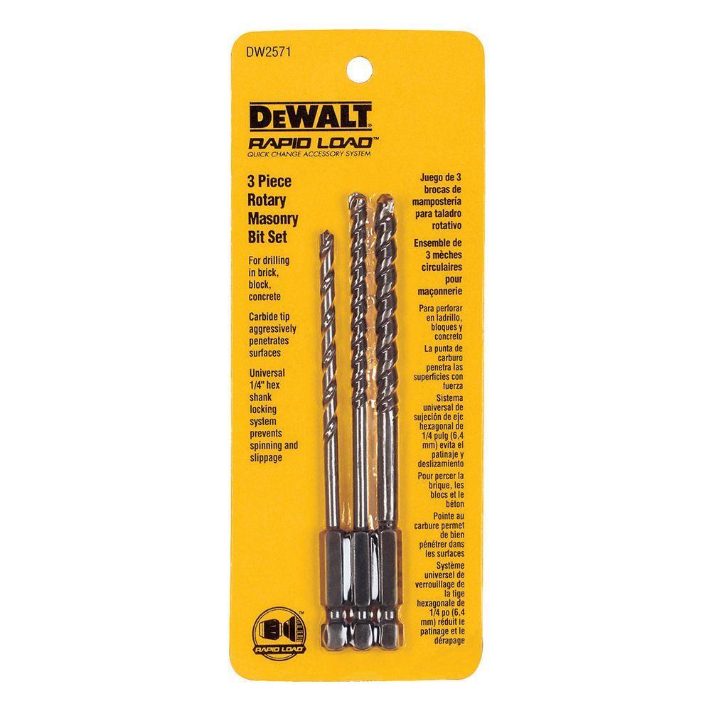 concrete drill bit set. dewalt rotary masonry bit set (3-piece) concrete drill i