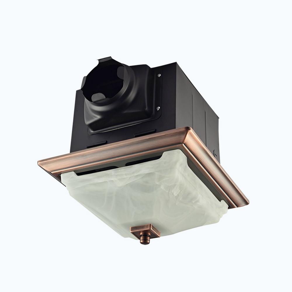 Lift Bridge Kitchen & Bath Decorative Oil Rubbed Bronze 110 CFM Ceiling  Bath Fan with Light and Glass Globe