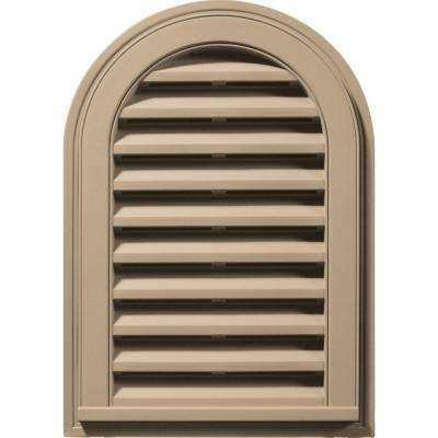 14 in. x 22 in. Round Top Gable Vent in Tan