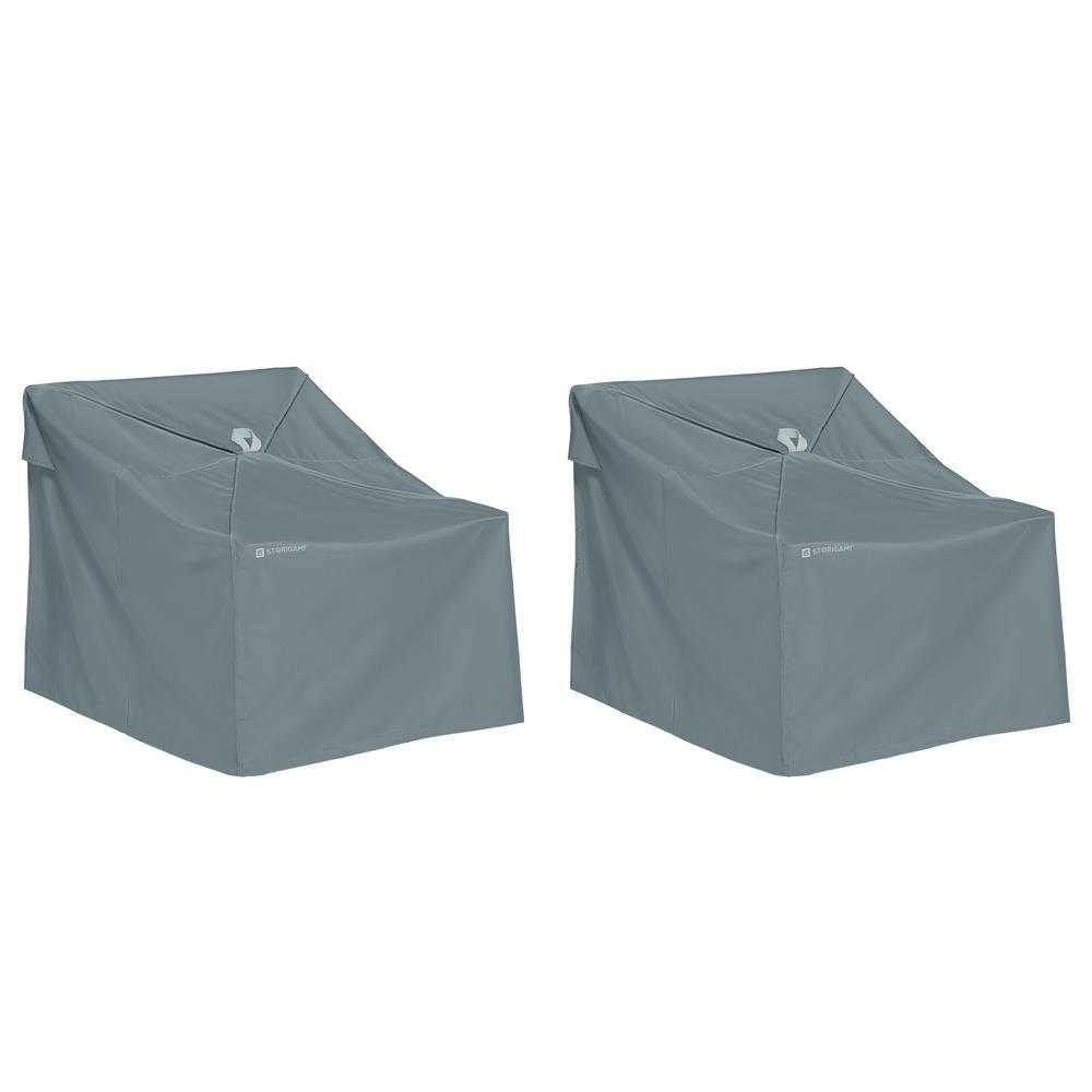 Storigami 35 in. L x 36 in. W x 32 in. H Easy Fold Lounge Chair Cover in Monument Grey 2-Pack