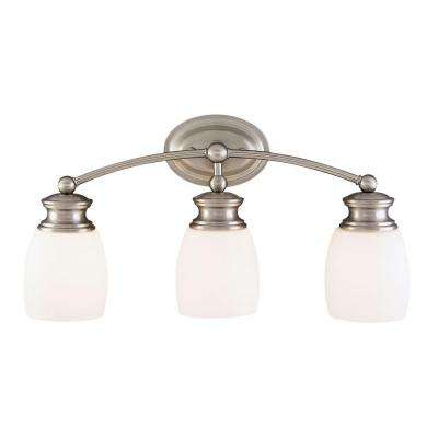 3-Light Satin Nickel Sconce with Frosted Opal Glass