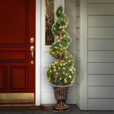 54 in. Cedar Spiral Tree with Ball in a Black and Gold Urn