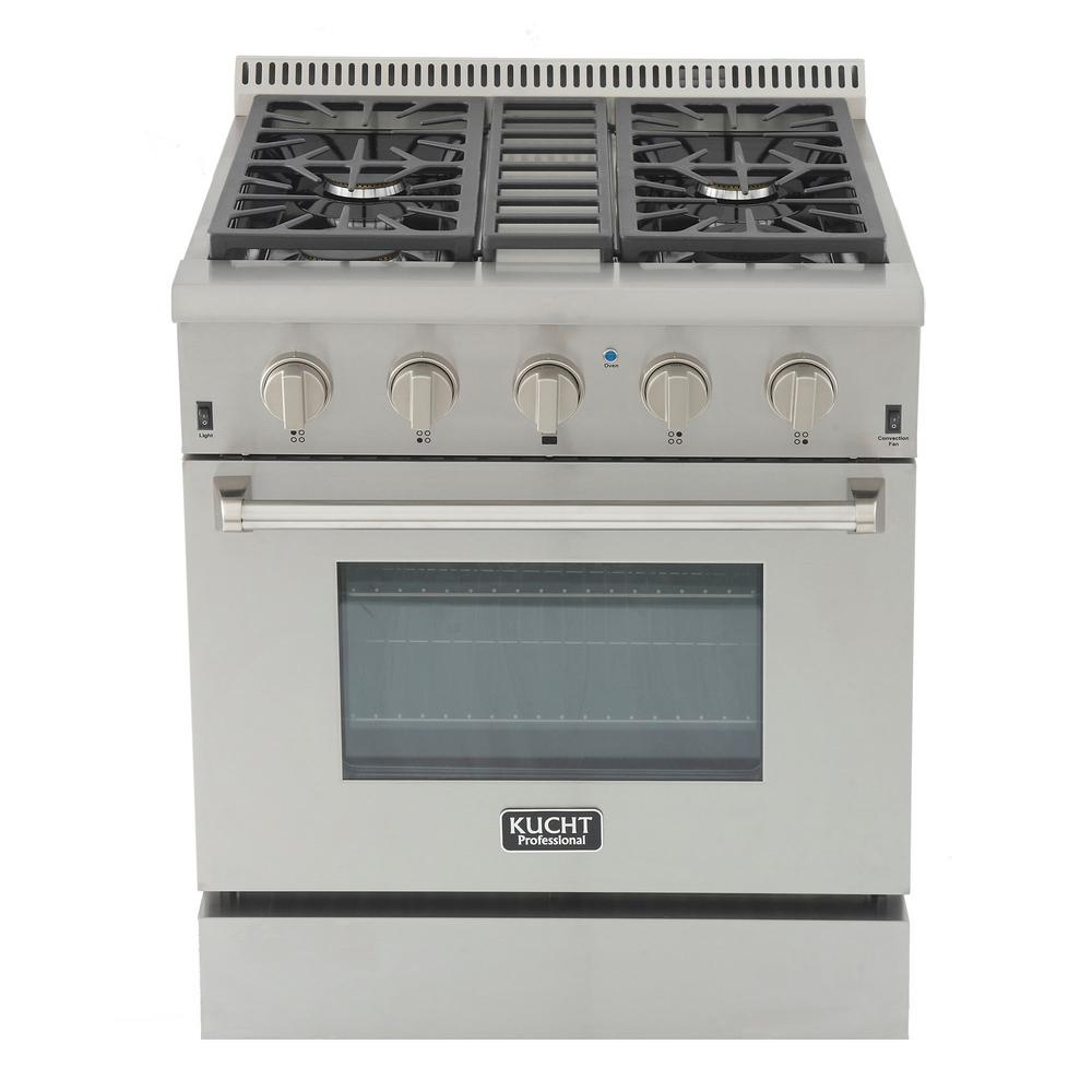 Kucht Pro-Style 30 in. 4.2 cu. ft. Propane Gas Range with Sealed Burners  and Convection Oven in Stainless Steel