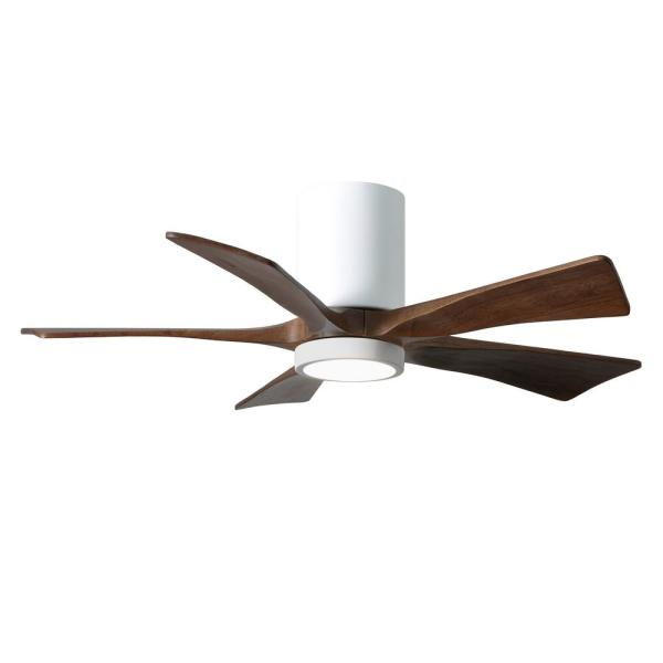 Irene 42 in. LED Indoor/Outdoor Damp Gloss White Ceiling Fan with Remote Control and Wall Control