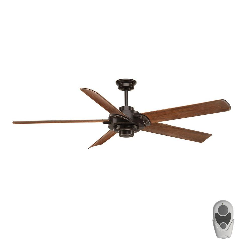 Progress Lighting Ellwood Collection 68 in. Indoor Antique Bronze Industrial Ceiling Fan with Remote