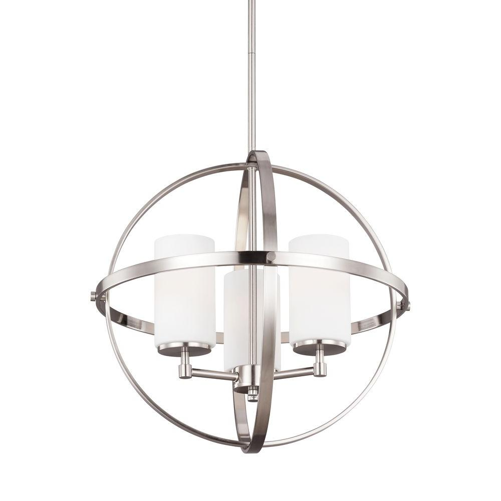 Sea Gull Lighting Alturas 19 in. W 3-Light Brushed Nickel Single Tier Chandelier with Etched White Glass