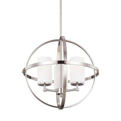 Alturas 19 in. W 3-Light Brushed Nickel Single Tier Chandelier with Etched White Glass