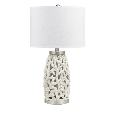 31 in. White Coastal Coral Table Lamp with Nightlight and LED Bulb