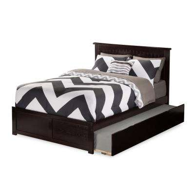 Nantucket Full Platform Bed with Flat Panel Foot Board and Twin Size Urban Trundle Bed in Espresso
