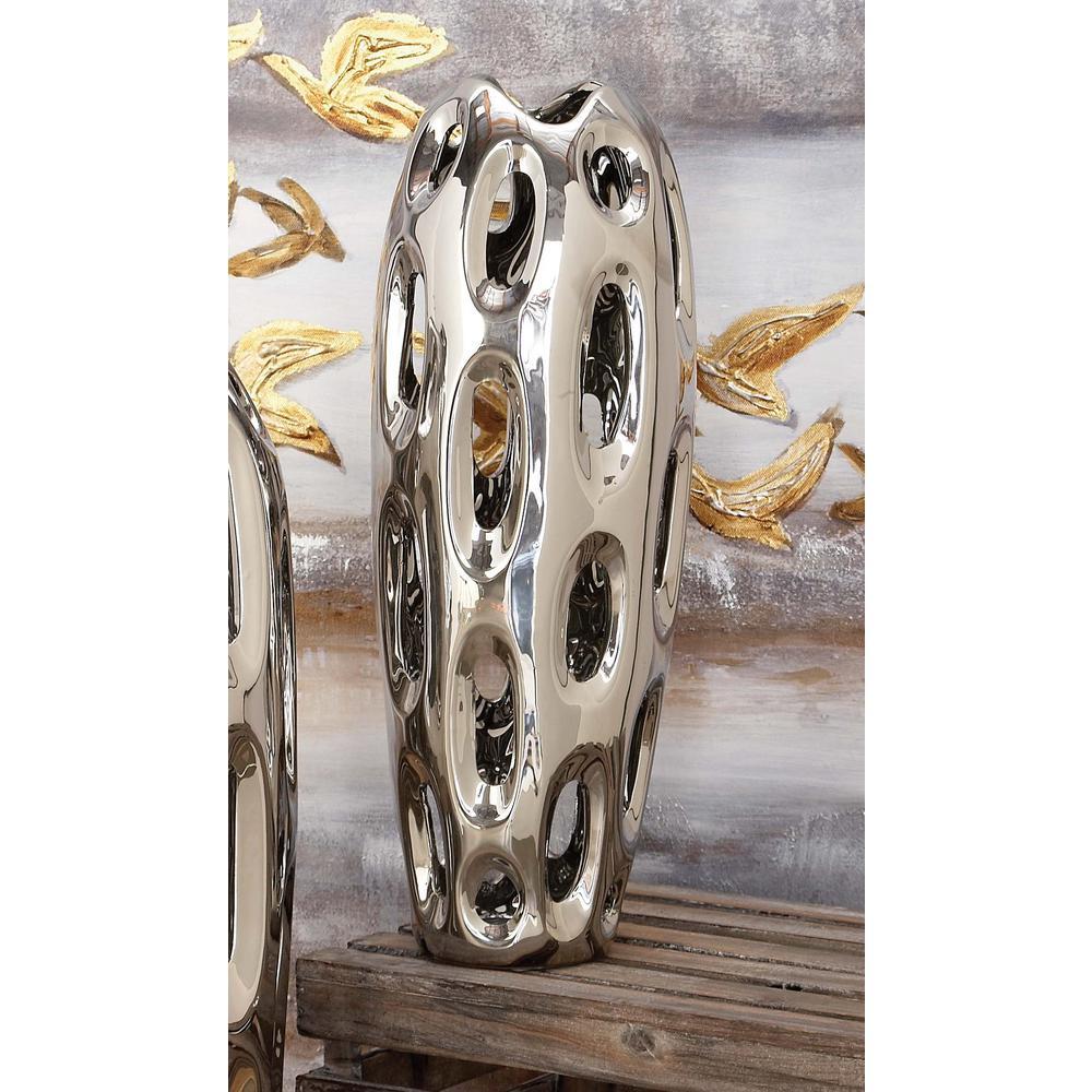 16 in. Sunken Oval Lacquered Silver Ceramic Decorative Vase