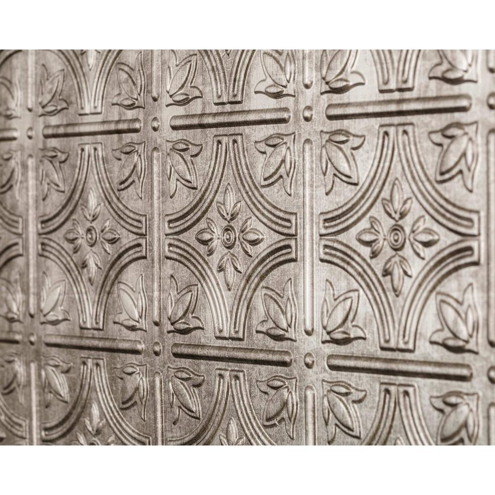 Innovera Decor by Palram Empire 18.5 in. x 24.3 in. PVC Backsplash Panel in Crosshatch Silver