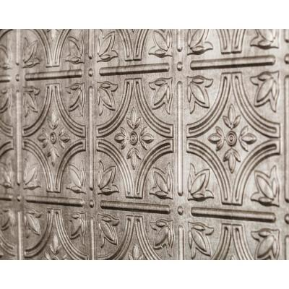 Empire 18.5 in. x 24.3 in. PVC Backsplash Panel in Crosshatch Silver