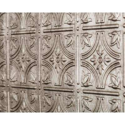Empire 18.5 in. x 24.3 in. PVC Backsplash Panel in Crosshatch Silver
