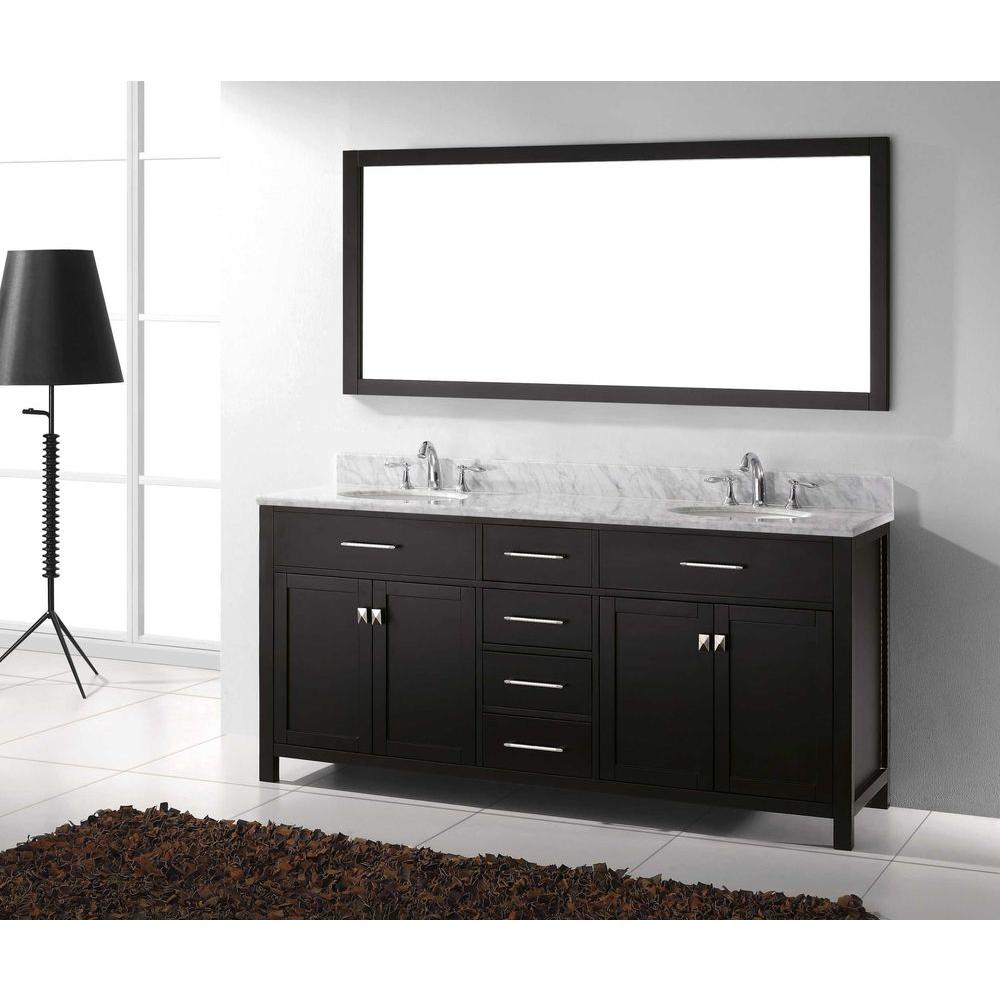 Sensational Virtu Usa Caroline 72 In W Bath Vanity In Espresso With Marble Vanity Top In White With Round Basin And Mirror Home Remodeling Inspirations Cosmcuboardxyz