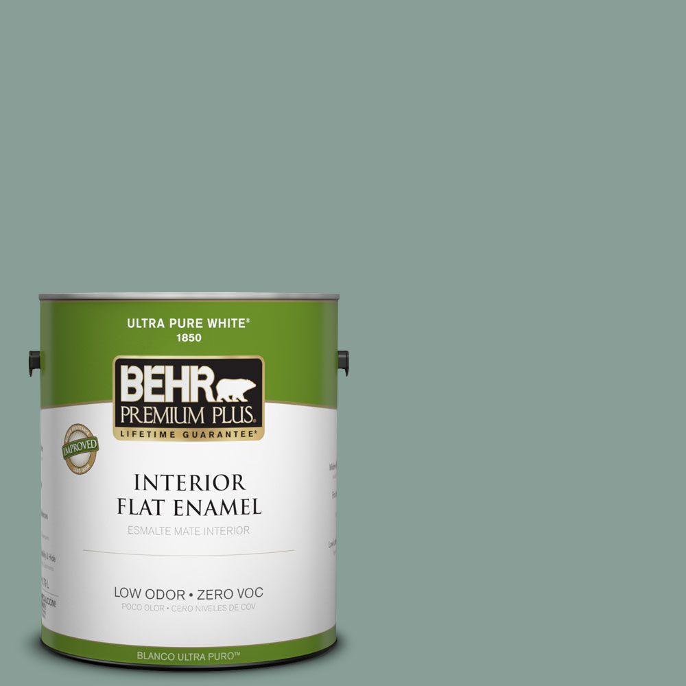BEHR Premium Plus 1-gal. #480F-4 Mermaid Net Zero VOC Flat Enamel Interior Paint-DISCONTINUED