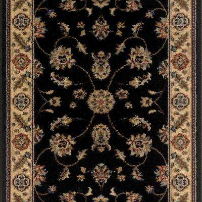 Canyon Kazmir Black 26 in. x 50 ft. Roll Rug Runner