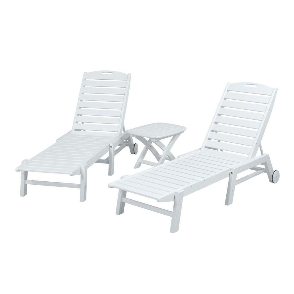 POLYWOOD Nautical White 3-Piece Patio Chaise Set