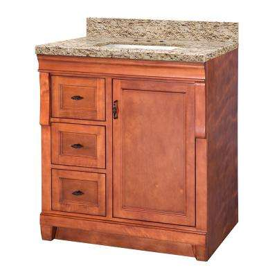 Naples 31 in. W x 22 in. D Vanity in Warm Cinnamon with Granite Vanity Top in Giallo Ornamental with White Sink