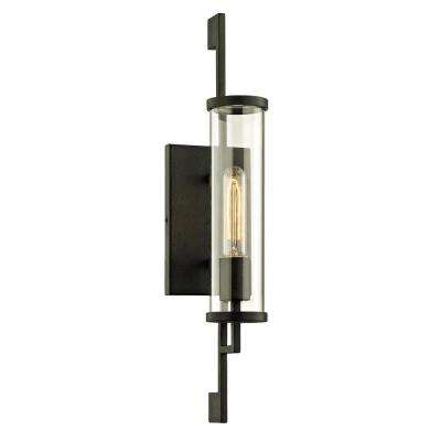 Park Slope 1-Light Forged Iron 21 in. H Outdoor Wall Mount Sconce with Clear Glass